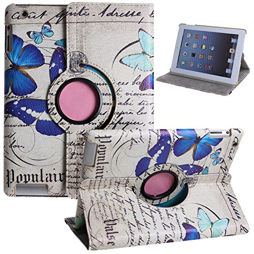 Case for iPad 2/3/4,Cover For iPad 2/3/4,Leather Case For iPad 2/3/4,UZZO™360 Degree Rotating Smart Muti-angle Colorful Flower Series Butterfly Pu Leather Flip Folio Smart Case Cover Stand for 9.7 inch Apple New iPad 2 3 4 With 1Free Keyring(Blue Butterfly) -