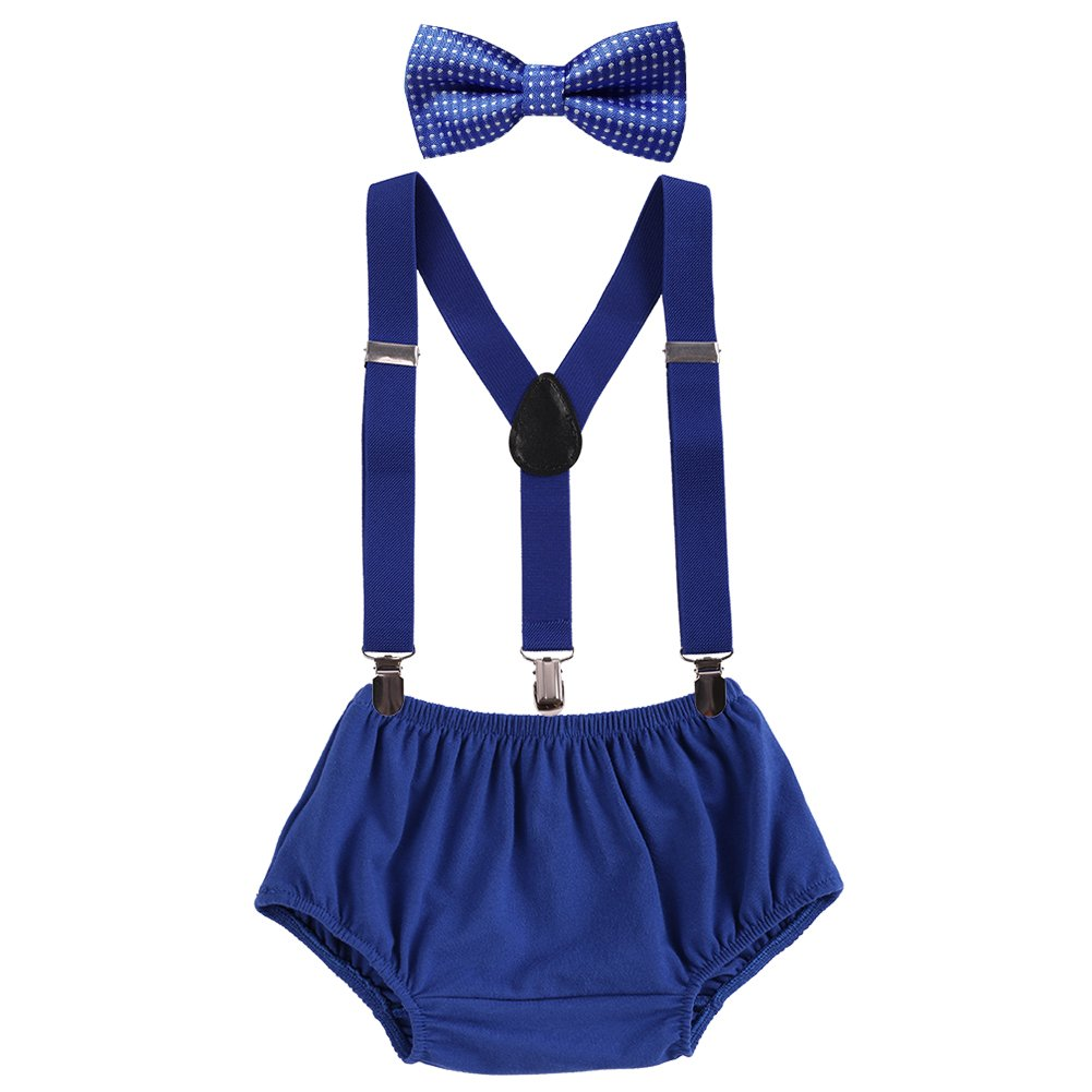 Baby Boys Adjustable Y Back Clip Suspenders Outfit First Birthday Bloomers Bowtie set Dark Blue