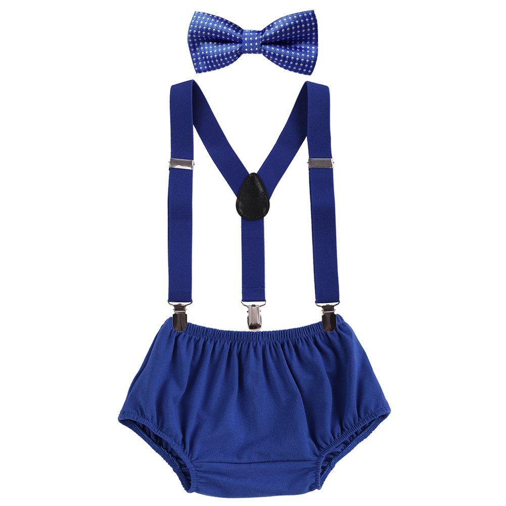 First Birthday Cake Smash Photo Props Baby Boy Y-Back Clip Suspender Bottoms Bowtie Set Royal Blue