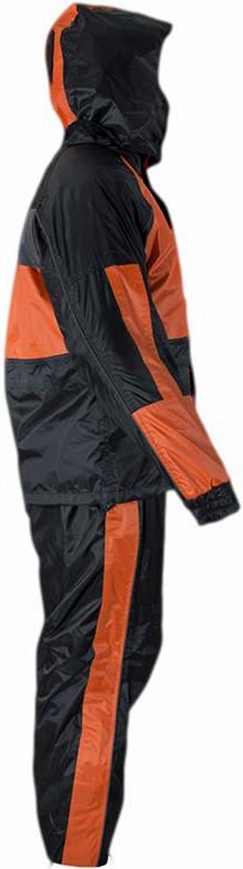 CD D C Mens 2 Piece Black /& Orange or Gray Biker Motorcycle Hooded Rain Suits