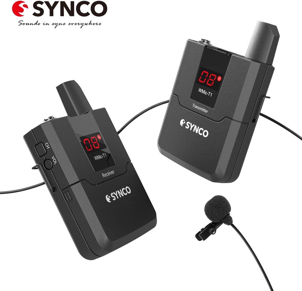 SYNCO WMic T1 UHF-Micrófono-Solapa-Inalámbrico-Sistema 16 Canales para DSLR Cámara, Videocámara y Smartphone, 50m Rango de Transmisión, Adecuado para Entrevista, Enseñanza, Presentación etc