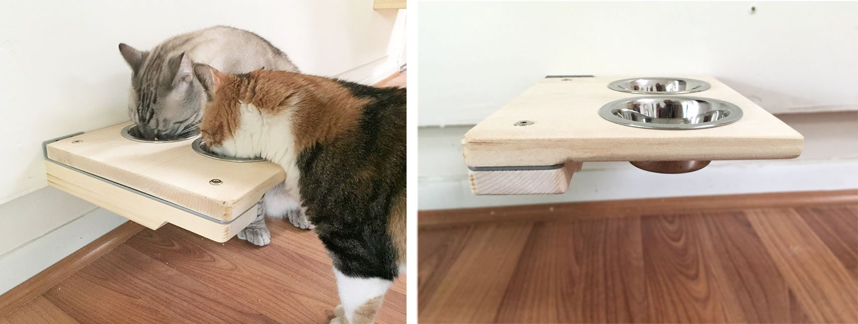 CatastrophiCreations Cat Mod Feeder Handcrafted Elevated Wall, Unfinished, One Size