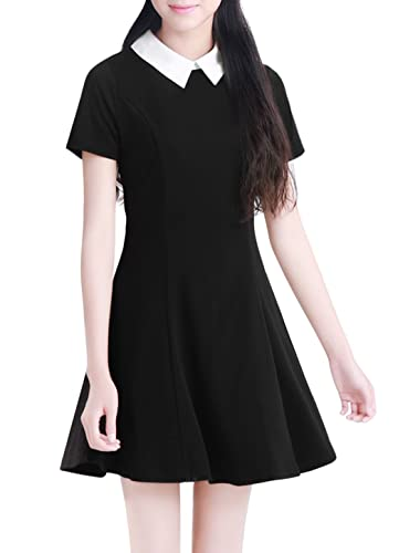 Allegra K Women Doll Collar Short Sleeves Flare Dress