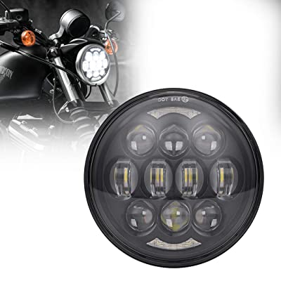 "COWONE Newest 80W 5-3/4"" 5.75"" LED Projector Headlights for Motorcycles Headlamp Driving Lights (DOT Approved) Black: Automotive"