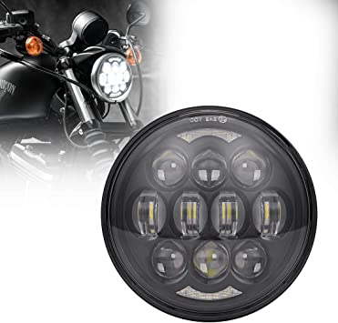 5.75/'/' 5-3//4/'/' 80W LED Projector Headlight Halo DRL for Harley Motorcycle Black