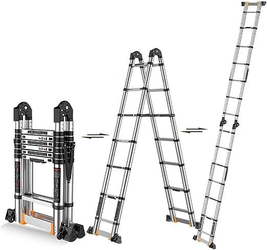 Escalera Telescópica- Extensión Telescópica Plegable De Aluminio Una Escala Forma De La Montura para La Seguridad del Loft, Multi Purpose Escaleras MAX Capacidad 330lbs (Size : 5m/16.4ft(2.5m+2.5m)): Amazon.es: Hogar