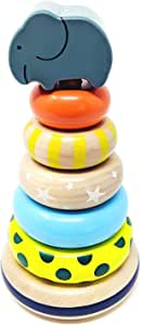 Orcamor Wooden Stacking Rings Toy with Elephant Topper - Montessori Wooden Stacking Toys for Toddler 1 Year Old and Up - 8 Inches Tall
