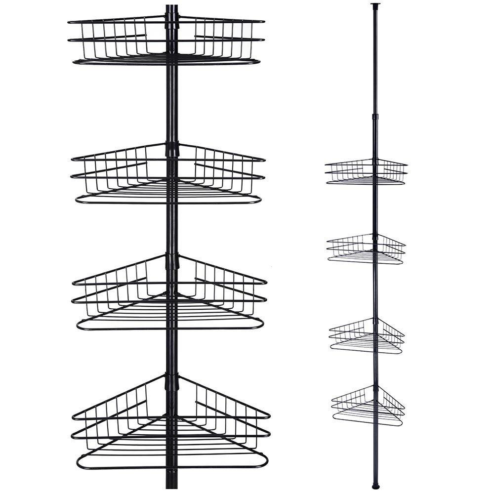 Black 4-Basket Bathroom Toilet Corner Shelf Bath Shower Caddy Pole Storage Rack Tower Organizer For Home Spa Hotel Villa