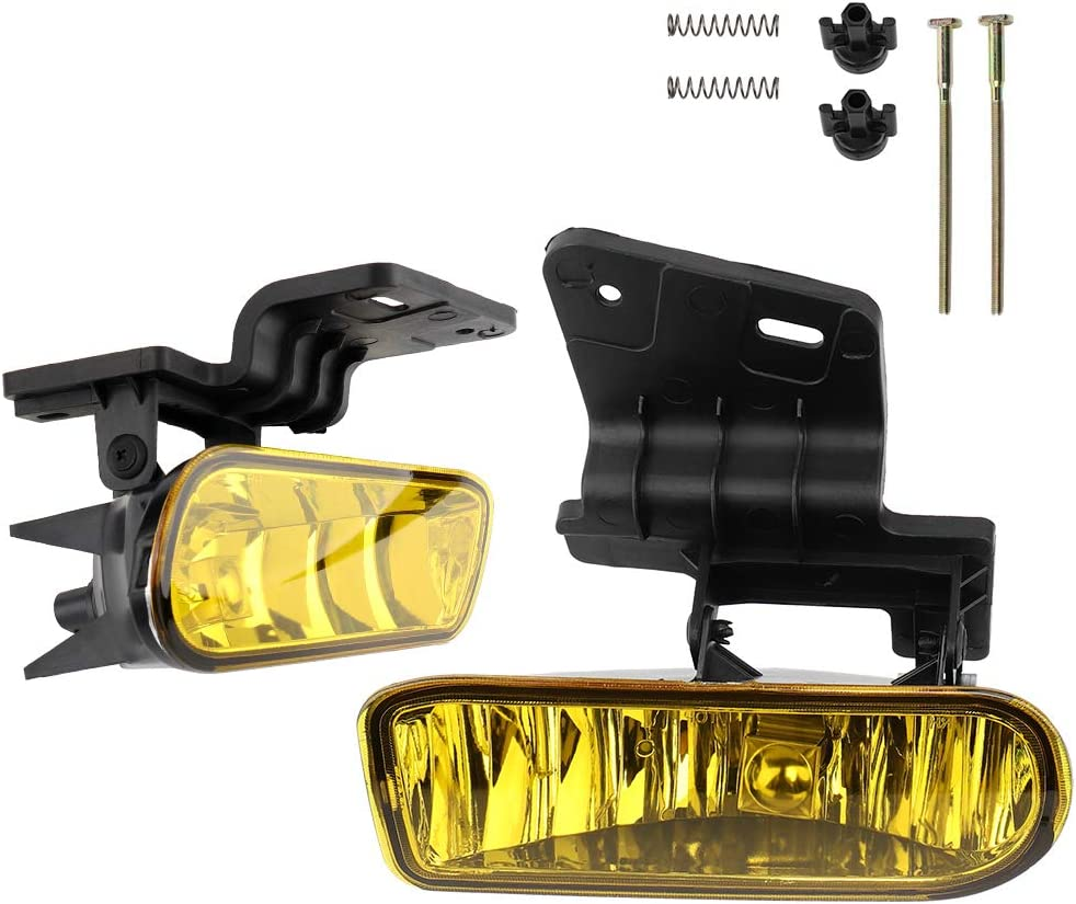 MAYASAF Amber Lens Chevrolet Fog Light Pair of Bumper Fog Lamp Assembly Fit 1999-02 Chevrolet Silverado 1500//2500//3500 2000-2006 Suburban 2000-2006 Tahoe Exclude Z71
