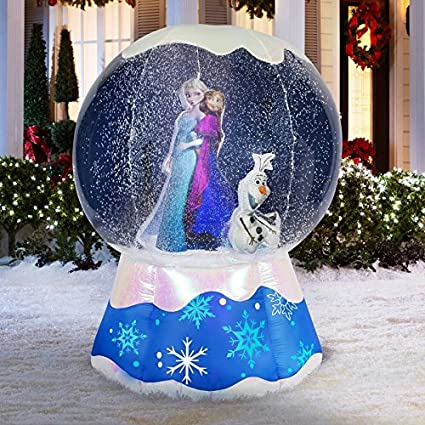 gemmy 6 christmas disneys frozen elsa anna olaf lighted snow globe airblown outdoor inflatable - Olaf Outdoor Christmas Decoration