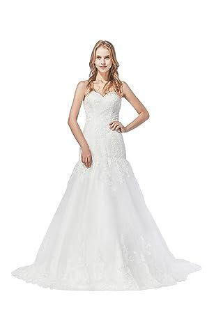 Stylish Mermaid Lace Top Drop Waist Tulle Wedding Dress at Amazon ...
