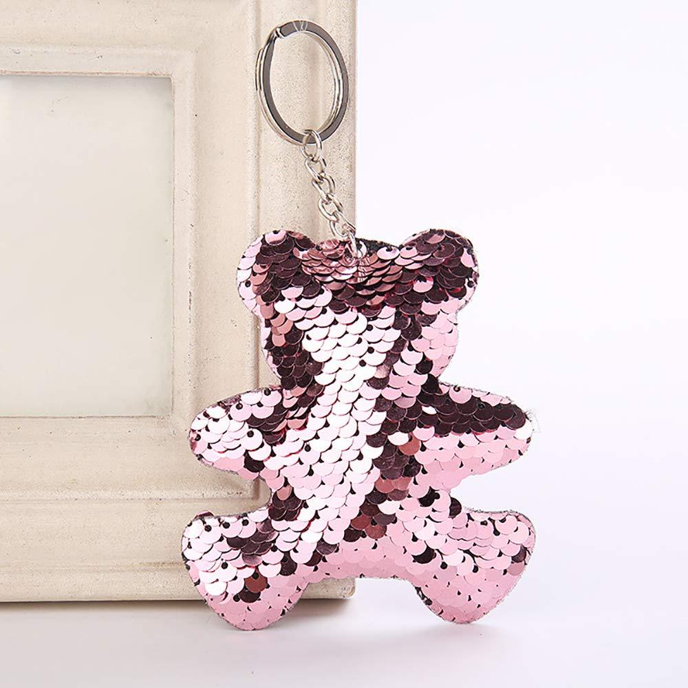 Llavero con diseño de oso de lentejuelas con purpurina ...