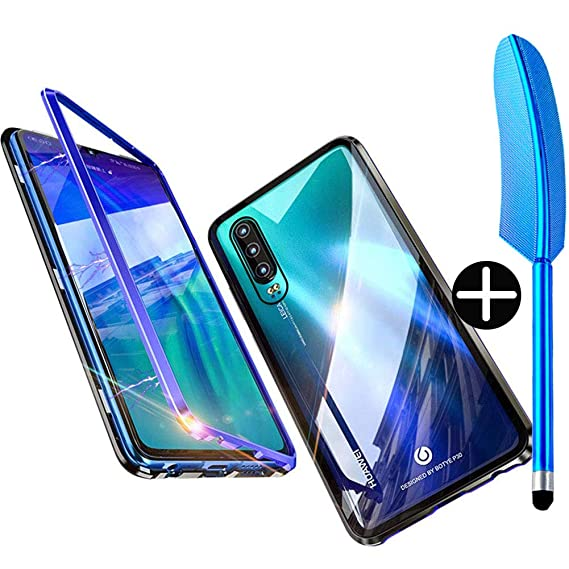 Wishcover Case for Huawei P30 Lite Cover Magnetic Adsorption Tech Powerful  Magnets Built-in Metal Frame 360 Degree Protection Shockproof Metal Flip