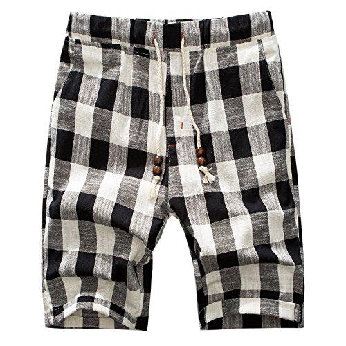 Manwan walk Men's Linen Casual Classic Fit Short B311 (Medium, Plaid Black)
