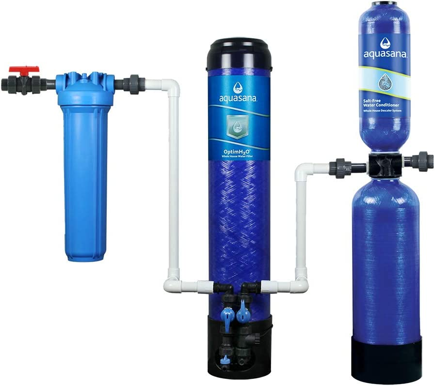 Aquasana OptimH2O Whole House Water Filtration System - Included Salt-Free Descaler - Removes 99% Lead, Chlorine & Chloramines - 100,000 Gal.