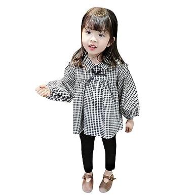 ca8dc54fd63b6a HUI Infant bébé Enfants Fille Arc Chemises à Carreaux Robe Tops + Pantalon  Tenue