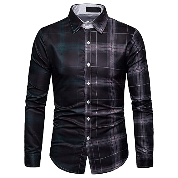 Fahion Men Lattice Plaid Denim Hoody Slim Fit Shirt Casual Long Sleeve Top Tee G