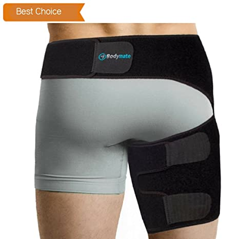 BODYMATE Compression Brace for Hip, Sciatica Nerve Pain Relief Thigh  Hamstring, Quadriceps, Joints