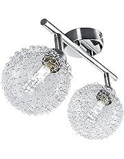 Faretti LED a soffitto orientabili, lampadario moderno a braccia, plafoniera da soffitto, 2 luci, vetro, fantasia filo, corpo metallo color cromato, incl. lampadine da 3,5W 230V G9 IP20