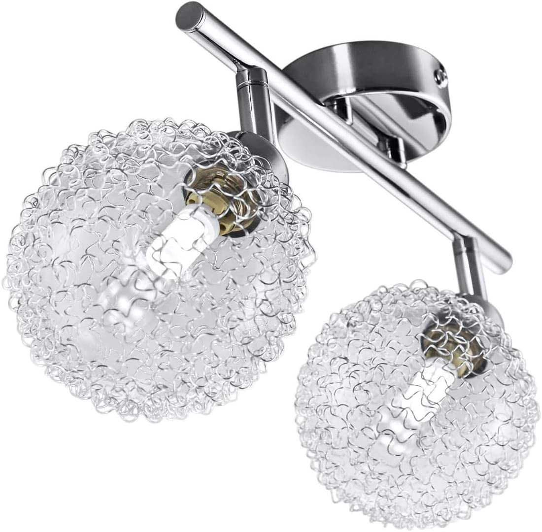 Lámpara de techo con 2 x 3,5 W bolas de cristal, luz de techo moderna de metal incl 2 bombillas LED G9, Orientable y giratoria 230 V IP20 3000K
