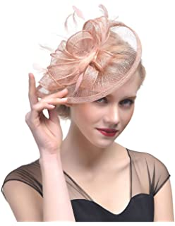 Ztl Women/'s Charming Feather Fascinator Hair Clip Hat Wedding Tea Cocktail Party