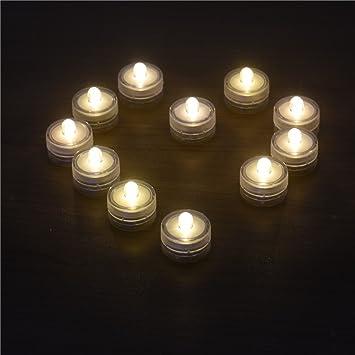 samber 12pcs led flameless candles tea lights electric christmas candles waterproof led candle lamp led battery