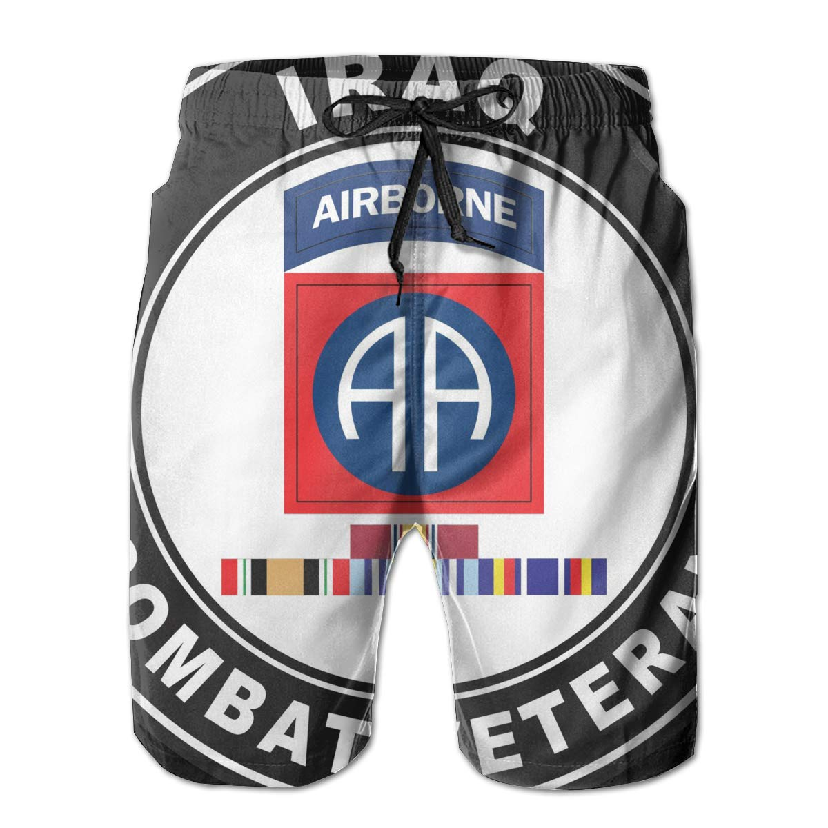 Hdecrr FFRE 82nd Airborne Division Iraq GWOT Ribbons Combat Veteran Men Swimming Shorts Quick Dry Board Shorts
