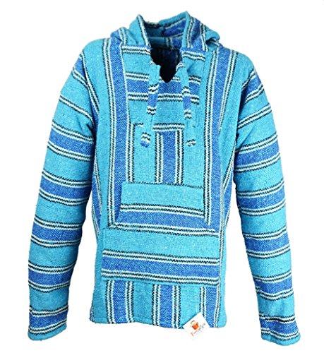 Funny Guy Mugs Premium Baja Hoodie Sweatshirt Pullover Jerga Poncho (Glacier, X-Large)
