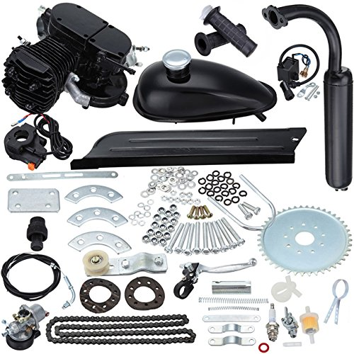 "Ambienceo 26"" 28"" Black 2 Stroke 50cc 80cc Cycle Bicycle Gas Motorized Gasoline Engine Motor Kit CDI Air Cooling For Mountain and Road Bike (80cc, Black)"