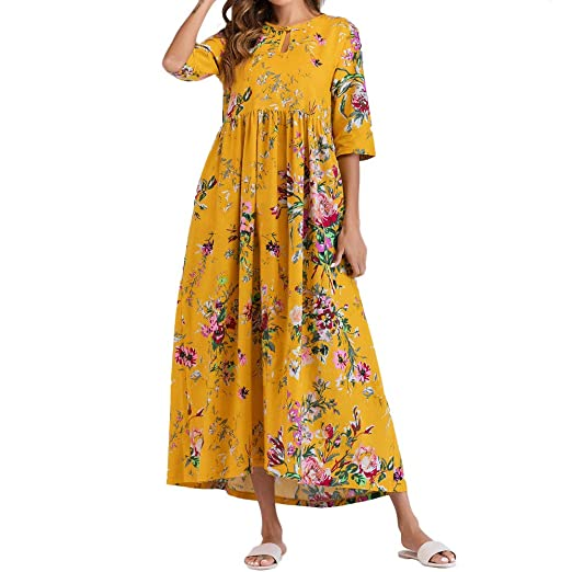 f8363b39e00 Amazon.com  AMSKY❤Women Half Sleeve Ruched Maxi Dress Casual Thin Floral  Cotton Loose Boho Print Long Dress Robe Kaftan Dress  Clothing