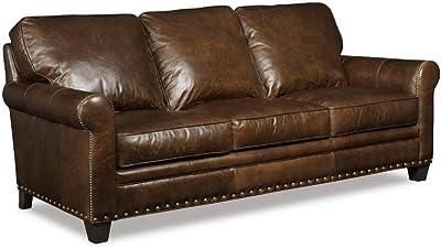 "Hooker Furniture Kingston Series SS167-03-088 84"" Traditional-Style Living Room Eden Stationary Sofa in Dark Brown"