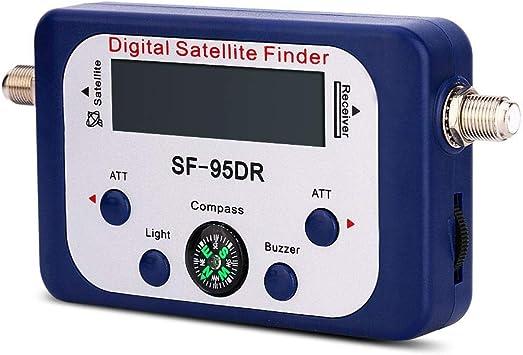 Buscador Digital de satélite, Pantalla LCD Detección de satélite Dispositivo de medición satelital Intensidad de señal Antena parabólica Compás con ...
