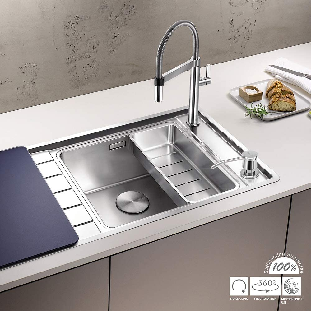 Built in Sink Soap Dispenser(Complete Brass) Varanid Dispenser for Kitchen Sink Spot Resist Stainless Built in Design For Counter Top With PE Bottle