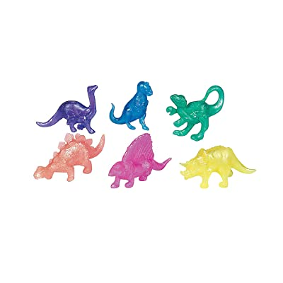 Fun Express Pearlized Squishy Dinosaurs (Bulk Set of 48) Party Favors and Toys: Toys & Games