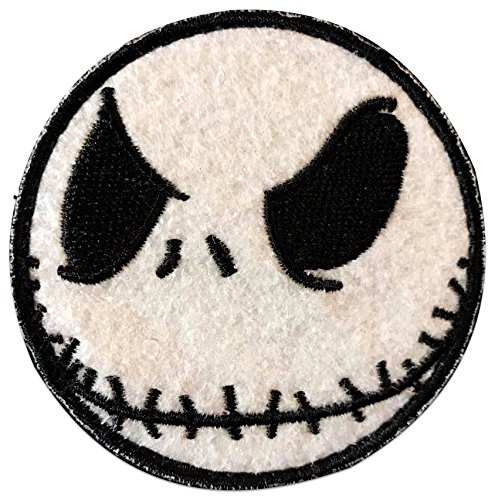 "Hook Fastener Patch /""Black /& White/"" Custom Cool /& Awesome {2.25 Inches} Cirlce Nightmare Jack The Pumpkin King Smiley Skull Black Ops SWAT Badge Single Count Emblem"