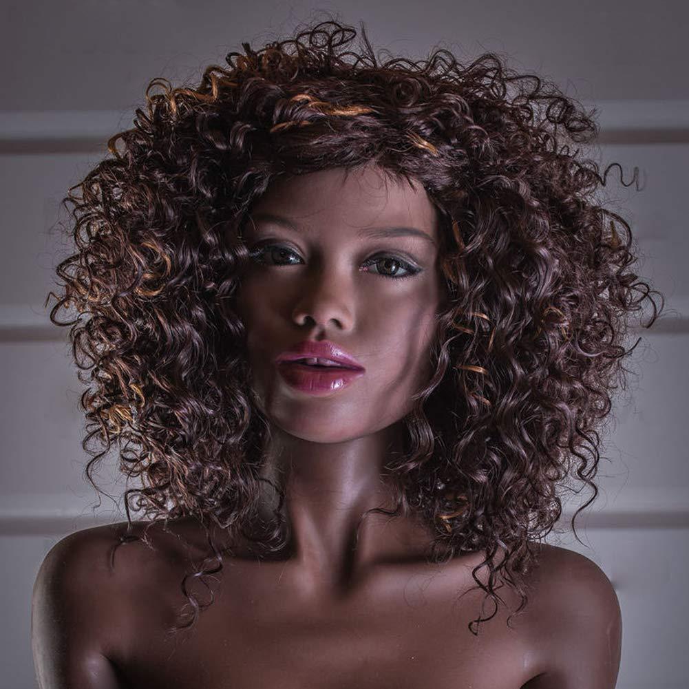 Oral Sex Doll Heads for Male Masturbator Lifelike Love Doll Head 3D Solid Sex Toys Black Skin African Sexy Girl Love Toys (Winni)