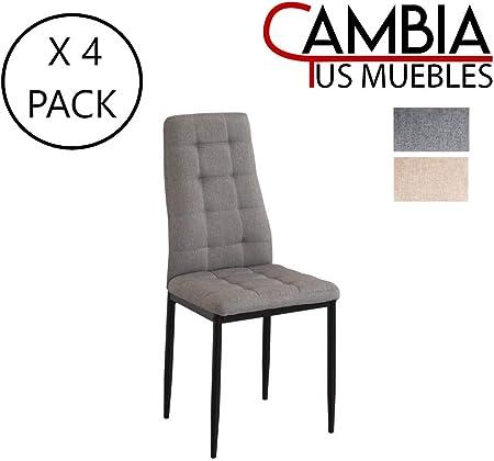 CAMBIA TUS MUEBLES - Pack de 4 sillas Comedor MIKONOS tapizadas en ...