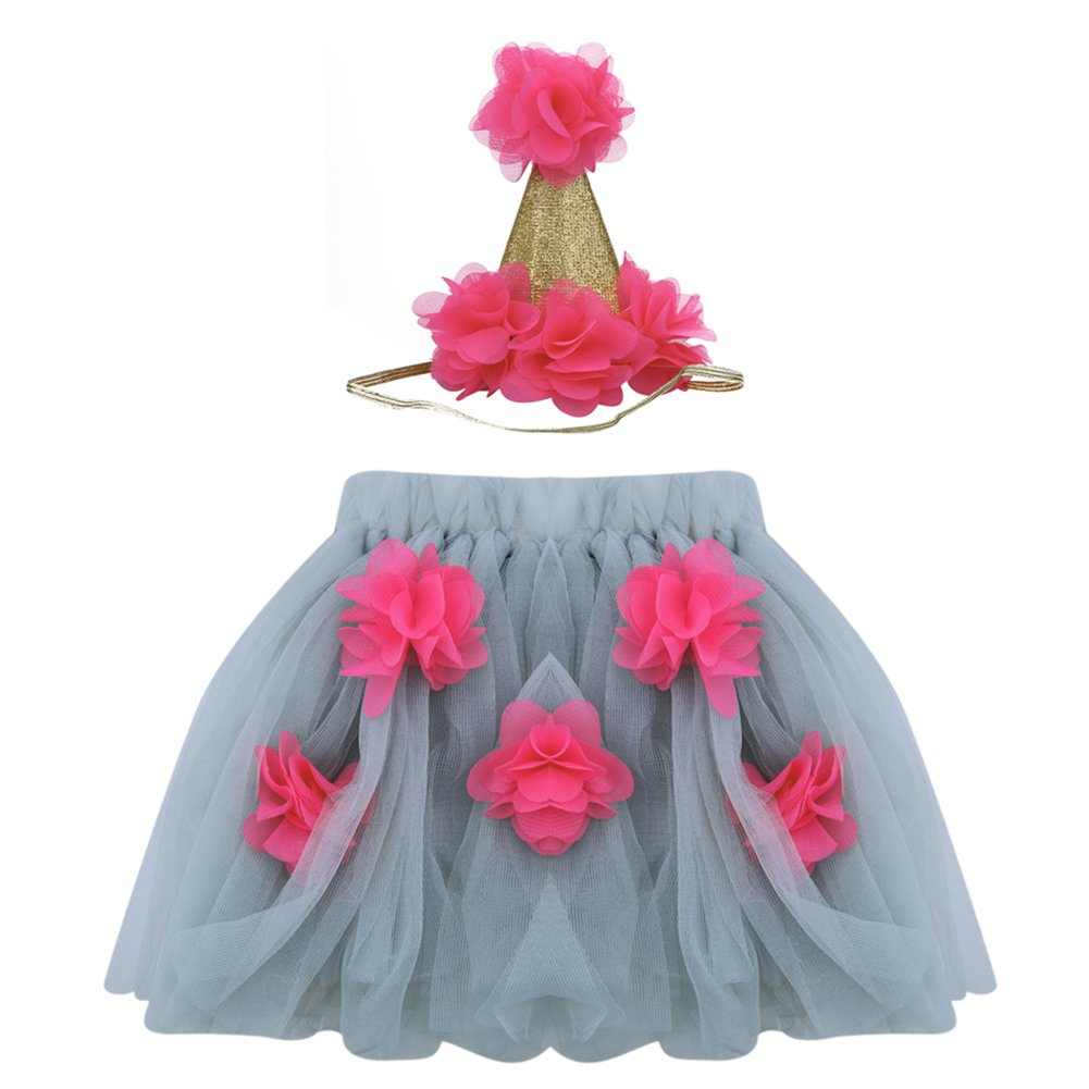 chinatera 2cps Baby Girls Tutu Skirt Layered Ruffle Dress Photography Prop Cute Hat Outfit Gift Set