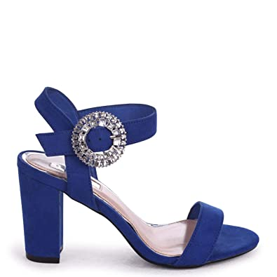 471e1f64659 Linzi Diamond - Cobalt Blue Suede Heeled Sandal with Heavily Embellished  Buckle  Amazon.co.uk  Shoes   Bags