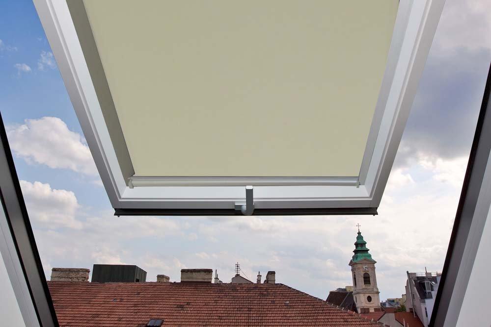 Store per finestre Velux GGU/GGL/GPU/GPL/GHU/GHL/GTU/GTL/GXU/GXL C04Retro (parte esterna) della tela di colore bianco beige/crema–38,3x 74cm (larghezza x lunghezza)–Dotato di binari guida laterali in alluminio, Tela, Beige clair / Crème, C04 - 38,3x