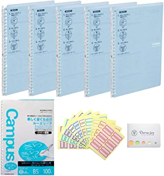 Set of 5 Binder Along with Original Sticky Notes /& 10 Colored Index Paper Slim Kokuyo Campus Smart Ring Binder Non-Bulky /& Portable B5 Size /& 26 Rings Pre-Dotted Loose Leaf Papers