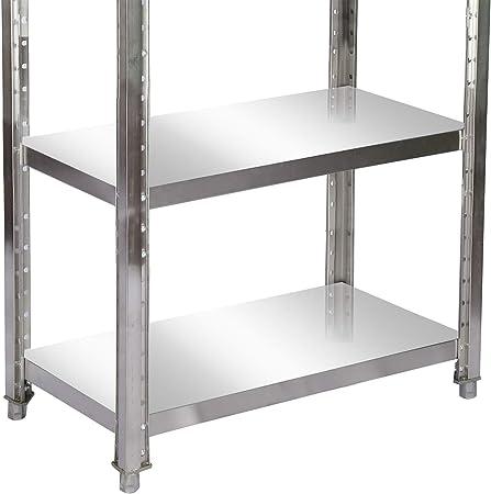 Estanter/ía de acero inoxidable 90x50x155cm con 4 baldas para hosteler/ía almac/én cocina industrial