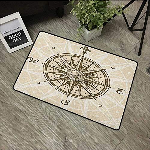 Bedroom door mat W35 x L59 INCH Compass,Sun Motif Backdrop with Windrose Directions East West North South Navigation, Olive Green Beige Natural dye printing to protect your baby's skin Non-slip Door M