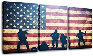 Native American Flag Pictures Soldier Silhouette Paintings Patriotic Wall Art Red Artwork 3 Piece Prints on Canvas Living Room House Decorations Framed Gallery-Wrapped Ready to Hang(42''Wx20''H)