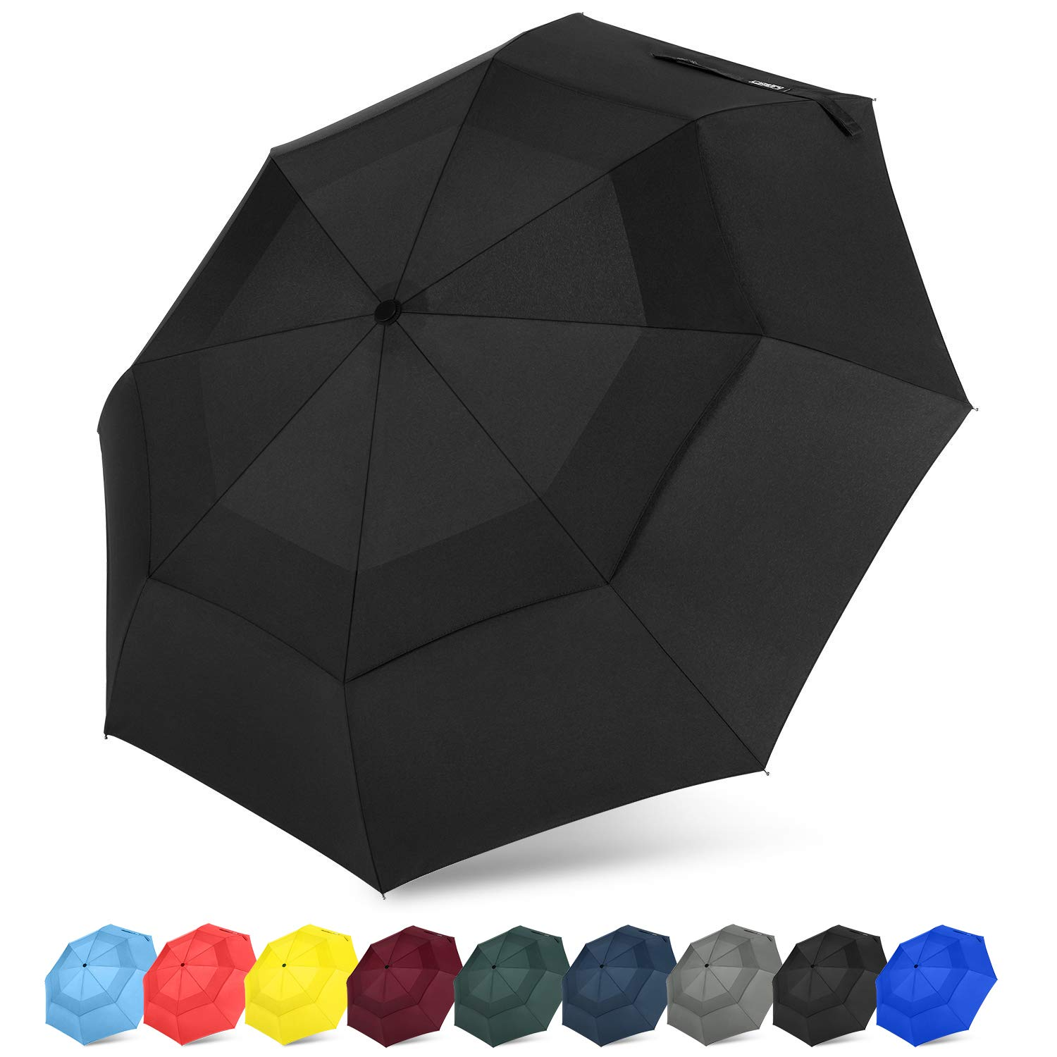 G4Free Compact Travel Umbrella Vented Windproof Double Canopy Auto Open/Close Folding Umbrella with SAFE LOCK (Black)