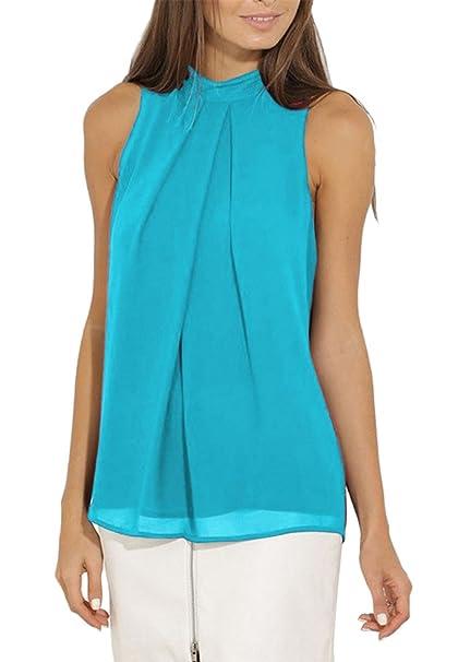 OMZIN Camisa de Mujer Casual Blusas de Gasa sin Mangas Chaleco de Verano Tops para Mujeres: Amazon.es: Ropa y accesorios