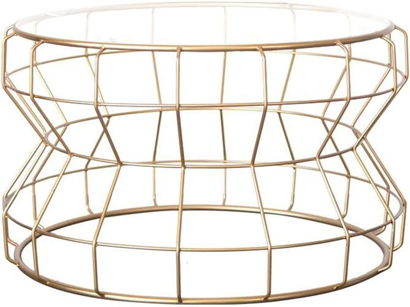 Goedkoop Aanbevelen JCNFA BIJZETTAFEL Side Table, Sofa Side Table nachtkastje Coffee Table Round smeedijzer gehard glas Living Room, 43 * 60CM (Color : Black+transparent glass) Gold+transparent glass XXpBTYP