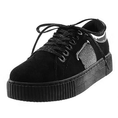 Angkorly - Damen Schuhe Sneaker - Tennis - Sporty chic - Plateauschuhe -  elastisch - Glitzer fb7d935a4a