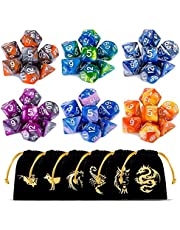 DND Dice Set, Dungeons and Dragons Dice Polyhedral Game Dice Role Playing Dice for Dungeon and Dragons DND RPG MTG Table Games D4 D8 D10 D12 D20 … (6Colors B)