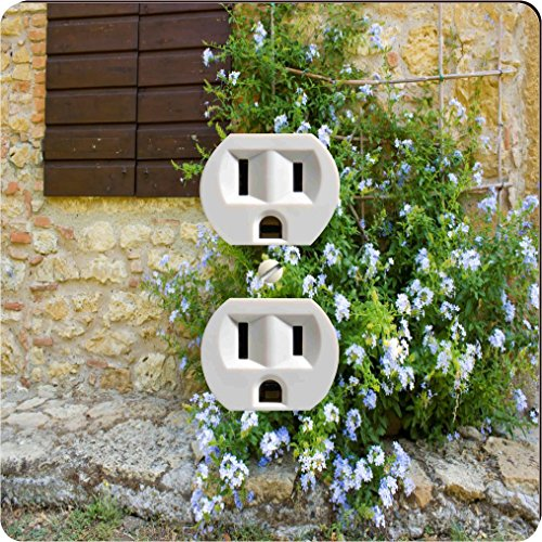 Rikki Knight 1133 Outlet Tuscan Window with Flowers Design Outlet Plate